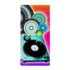 Dj Music Turntable Colored Circles Art Beach Towel