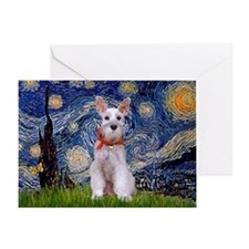 Starry Night Schnauzer Greeting Card