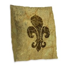 Cute Fleur de lis Burlap Throw Pillow