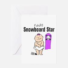 Future Snowboard Girl Baby Card