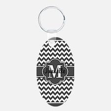 Gray Chevron Custom Monogra Keychains
