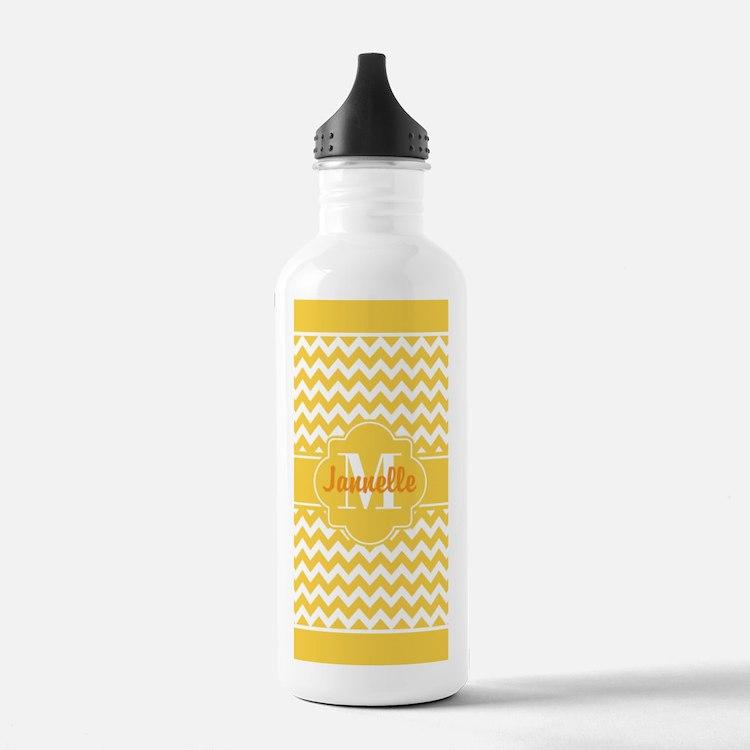 Yellow Chevron Custom Water Bottle