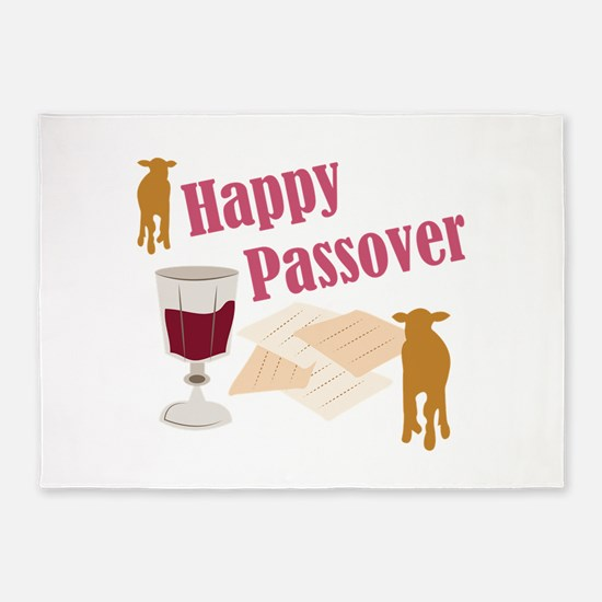 Happy Passover 5'x7'Area Rug
