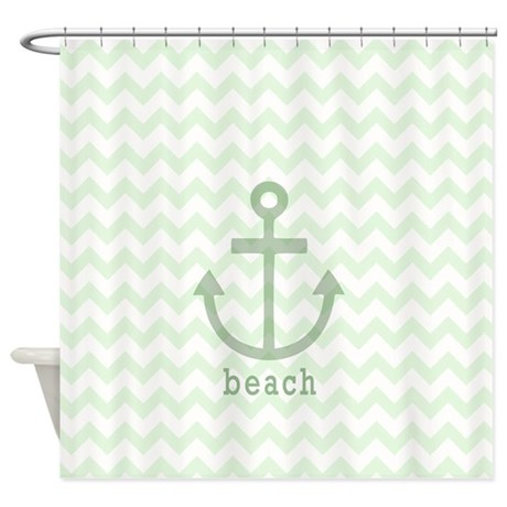 Green Anchor Beach Chevron Shower Curtain By 3QuarterDesigns