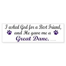 God Gave Me A Great Dane Bumper Bumper Sticker