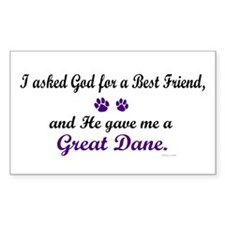 God Gave Me A Great Dane Rectangle Decal