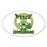 Peace Love And Leprechauns Oval Sticker
