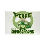 Peace Love And Leprechauns Rectangle Magnet