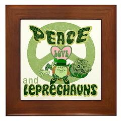 Peace Love And Leprechauns Framed Tile