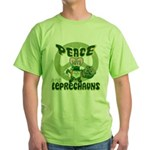 Peace Love And Leprechauns Green T-Shirt