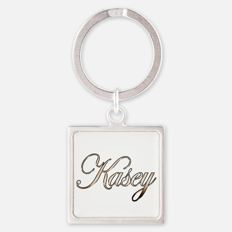 Gold Kasey Square Keychain