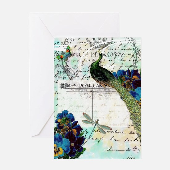 Vintage teal peaock Greeting Cards