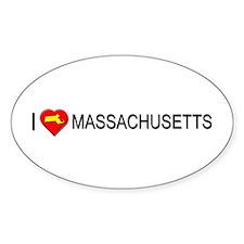 I love Massachusetts Oval Decal