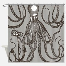 Vintage Octopus In Dark Brown And Shower Curtain