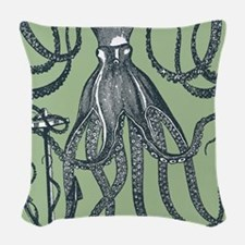 Exquisite Royal Dark Green Octopus Woven Throw Pil