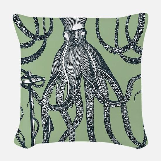 Exquisite Royal Dark Green Octopus Woven Throw Pil