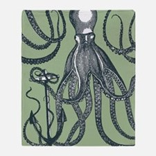 Exquisite Royal Dark Green Octopus Throw Blanket