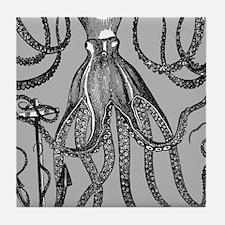 Trendy Black Octopus on Mocha grey background Tile