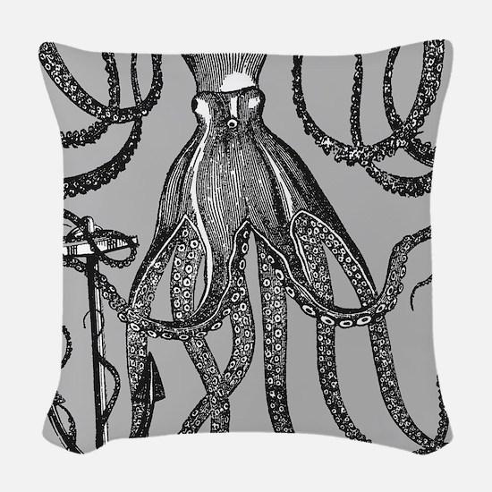 Trendy Black Octopus on Mocha grey background Wove