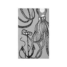 Trendy Black Octopus on Mocha grey background Area