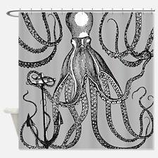 Trendy Black Octopus On Mocha Grey Shower Curtain