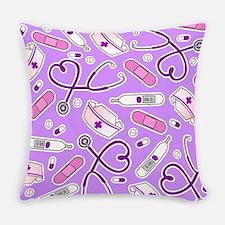 Cute Nurse Pattern Purple Everyday Pillow
