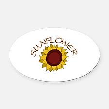 Sunflower Oval Car Magnet
