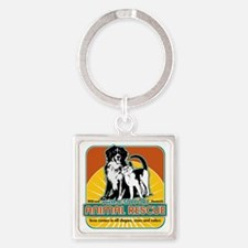 Animal Rescue Dog and Cat Square Keychain
