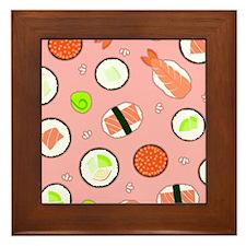 Cute Cartoon Sushi Pattern Pink Framed Tile