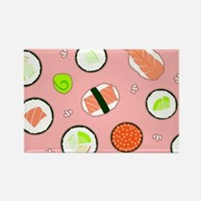 Cute Cartoon Sushi Pattern Pink Rectangle Magnet