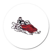 Snowmobile Round Car Magnet
