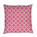 Quatrefoil pattern pink and lime Burlap Pillows