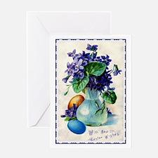 Easter Violets Vintage Card Greeting Cards