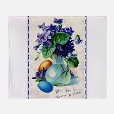 Easter Violets Vintage Throw Blanket