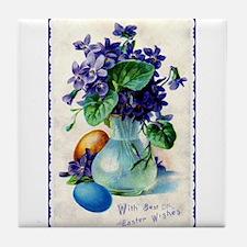 Easter Violets Vintage Tile Coaster