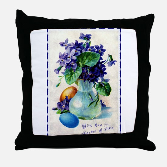 Easter Violets Vintage Throw Pillow