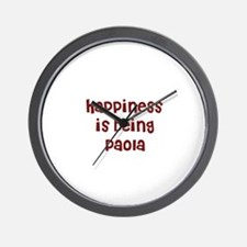 happiness is being Paola Wall Clock