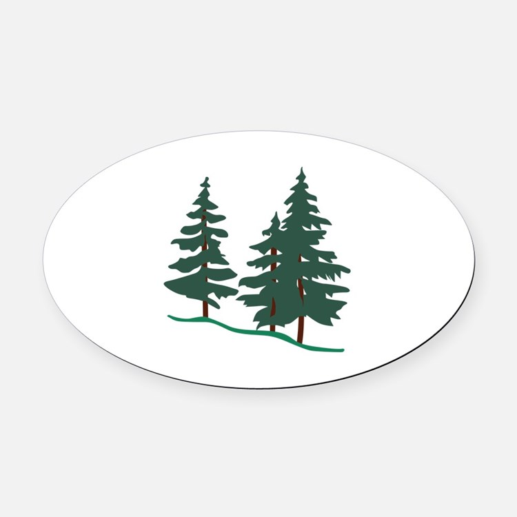Evergreen Trees Oval Car Magnet