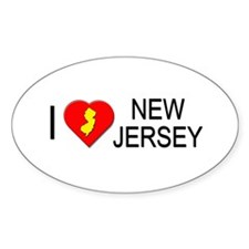 I love New Jersey Oval Decal