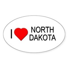 I love North Dakota Oval Decal