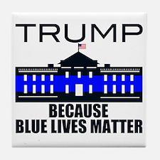 Trump men in blue Tile Coaster