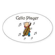 Cello Player Oval Decal