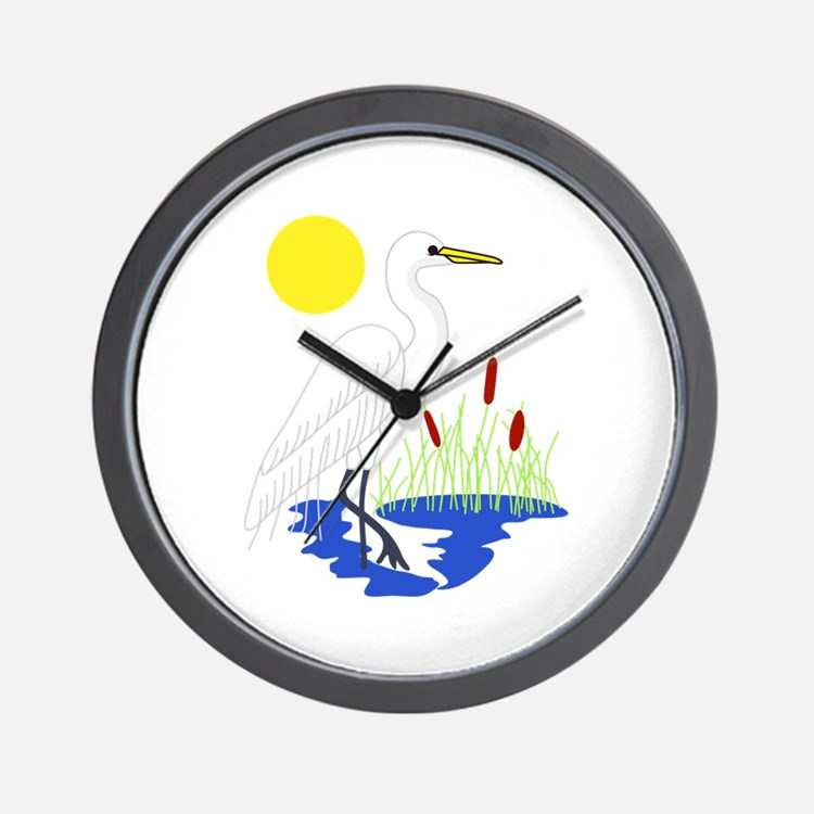 Egret Scene Wall Clock