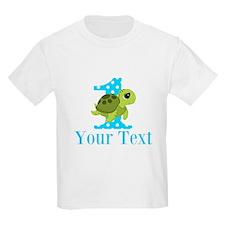 Sea Turtle First Birthday Blue Polka Dot T-Shirt
