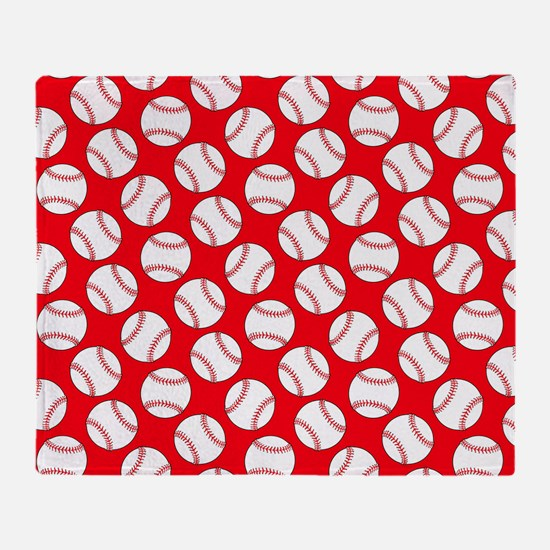 Red Baseball Pattern Throw Blanket