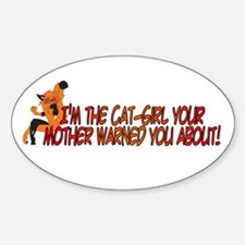 Cat-Girl Warned Oval Decal