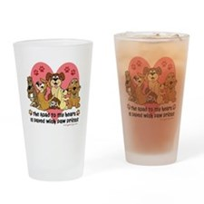 The Road To My Heart Dog Paw Prints Drinking Glass