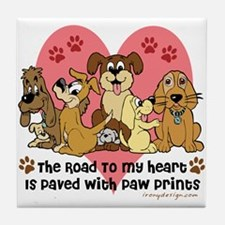 The Road To My Heart Dog Paw Prints Tile Coaster