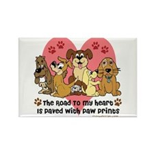 The Road To My Heart Dog Paw Prin Rectangle Magnet