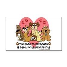 The Road To My Heart Dog Paw Rectangle Car Magnet